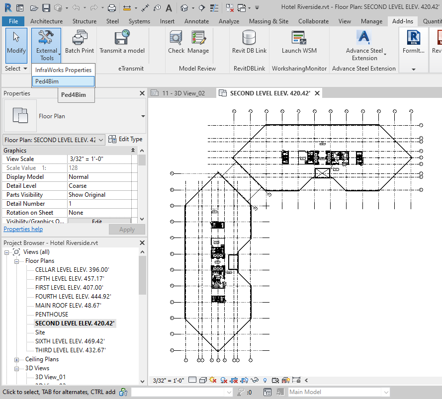 Autodesk® Revit® Add-In für Grundriss Export nach Ped4Bim