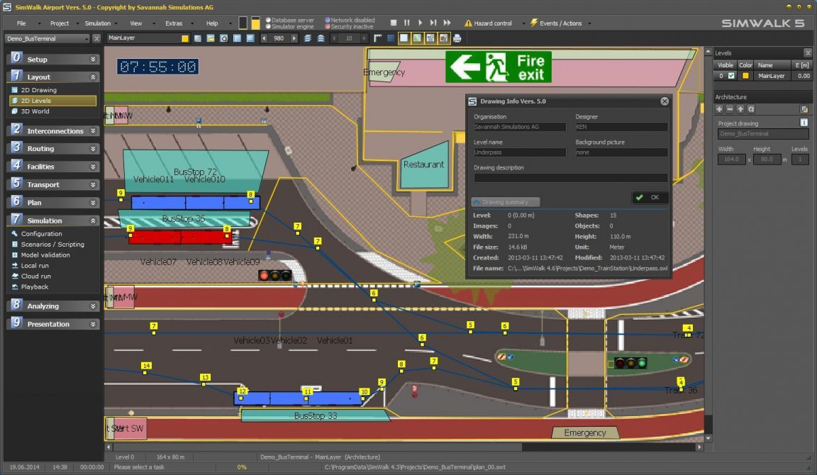 SimWalk Transport Airport Pedestrian Simulation